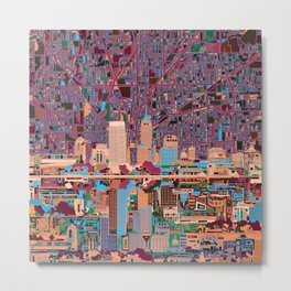 indianapolis city skyline purple Metal Print