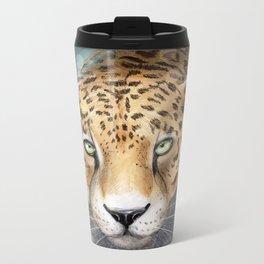 Snow, Leopard Metal Travel Mug