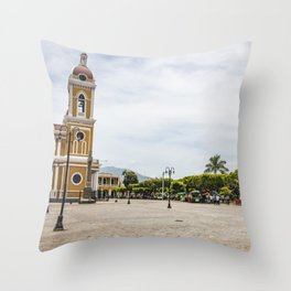 Granada Cathedral at the Parque Colon de Granada in Nicaragua Throw Pillow