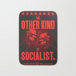 """Vintage """"The Other Kind of Socialist"""" Alcoholic Lithograph Advertisement in bright Commie Red! Bath Mat"""