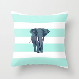 The Green Elephant Throw Pillow
