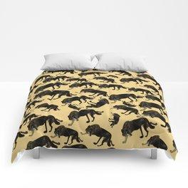 Totem black Buffalo wolf (nubilus) Yellow Comforters
