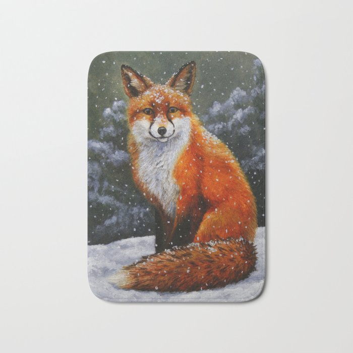 Cute Red Fox in Snow Bath Mat