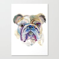 bulldog Canvas Prints featuring Bulldog by coconuttowers