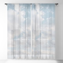 White Clouds | Blue Sky | Landscape Photography | Beach | Sunrise | Travel | Adventure | Dreamy Sheer Curtain