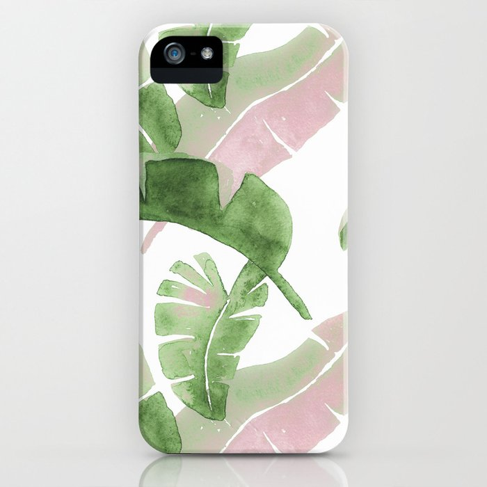 Tropical Leaves Green And Pink iPhone Case