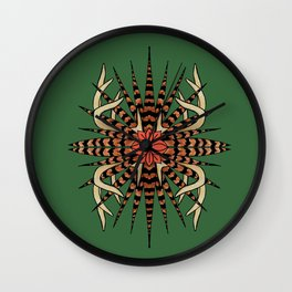 Antlers with Pheasant Feathers Quad Wall Clock
