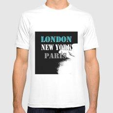 London , New York , Paris. Grunge . White Mens Fitted Tee MEDIUM