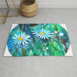 Watercolor Daisies - Circle Rug
