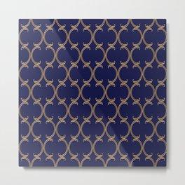 Gold Moroccan Lattice on Navy Metal Print