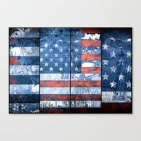 american flag Canvas Prints featuring American flag by Bekim ART