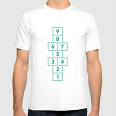 Hopscotch Mint White MEDIUM Mens Fitted Tee