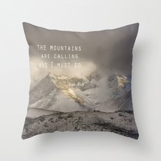 The Mountains are calling, and I must go.  John Muir. Vintage. Throw Pillow