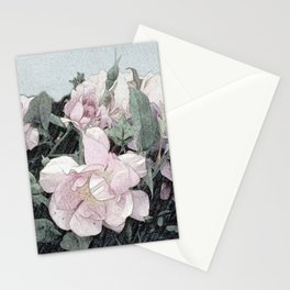 Shabby-chic Romantic Rosebush Painting Stationery Cards