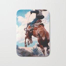 """Vintage Western Painting """"Bucking"""" by N C Wyeth Bath Mat"""
