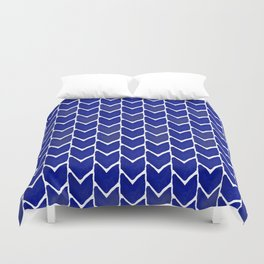 Chevron indigo blue painting watercolor abstract minimal modern brushstrokes painterly decor dorm Duvet Cover