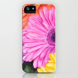 COLORFUL GERBER DAISIES in WATERCOLORS iPhone Case