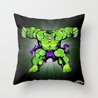 hulk Throw Pillows featuring Hulk by Liam Sweeney