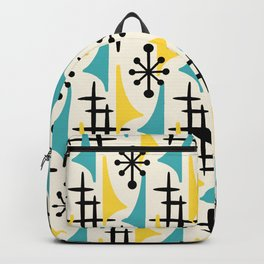 Mid Century Modern Atomic Wing Composition Turquoise & Yellow Backpack