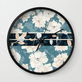 "Blue Peony Floral Print with ""Obi"" Trim Wall Clock"