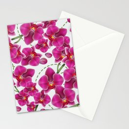 Fuchsia Pink Moth Orchids Stationery Cards