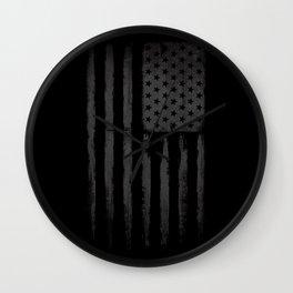 Grey American flag Wall Clock