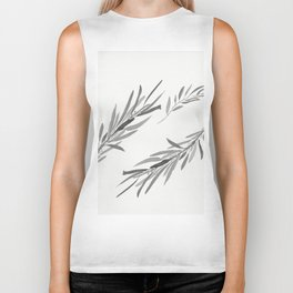 Eucalyptus leaves black and white Biker Tank
