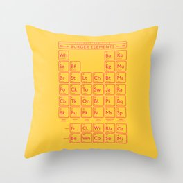 Periodic Table of Burger Elements - Yellow Throw Pillow