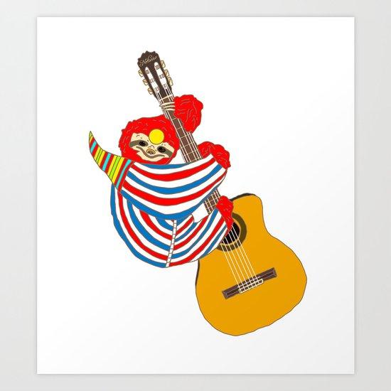 Bowie Sloth Vintage Guitar Art Print