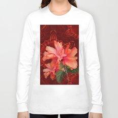 Orange hibiscus and vibrant kaleidoscope Long Sleeve T-shirt