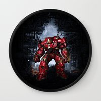 iron man Wall Clocks featuring IRON MAN iron man by alifart
