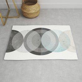 Blue Abstract Circle Print Rug