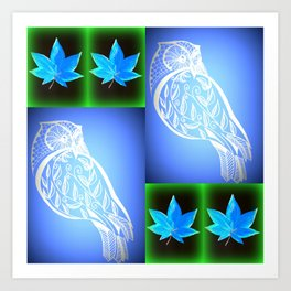 blue and green owl pattern Art Print