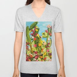 cactus painting,cacti painting,abstract cactus art,thick paint,boho style art,textured cactus art,te Unisex V-Neck