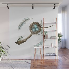 Nest Eggs and Feathers Wall Mural
