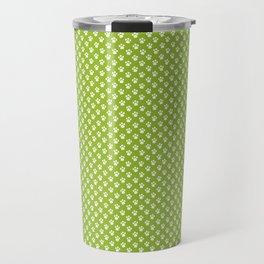 Tiny Paw Prints Pattern - Bright Green & White Travel Mug