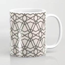 Brown and Cream Line Geometric Pattern Chains 2021 Color of the Year Urbane Bronze and Shoji White Coffee Mug