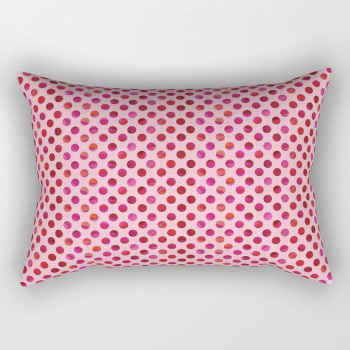 Magenta Watercolour Dot Rectangular Pillow