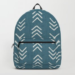 Muted teal and soft white ink brushed arrow heads pattern with textured background Backpack