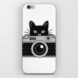 Black Cat and Camera iPhone Skin