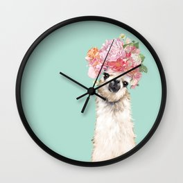 Llama with Flowers Crown #3 Wall Clock