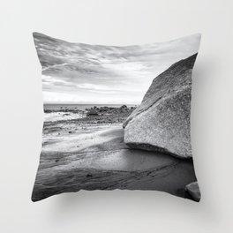 Kenai Beach bw Throw Pillow