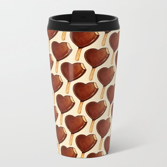 Ice Cream Pattern - Heart Metal Travel Mug