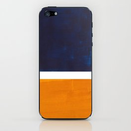 Navy Blue Yellow Ochre Abstract Minimalist Rothko Colorful Mid Century Color Block Pattern iPhone Skin