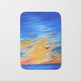 ocean sunset, original oil painting landscape, blue wall art, beach decor Bath Mat