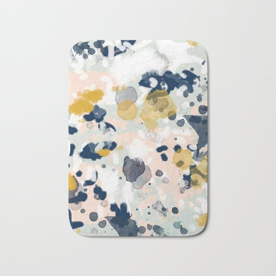 Noel - navy mint gold painted abstract brushstrokes minimal modern canvas art painting Bath Mat