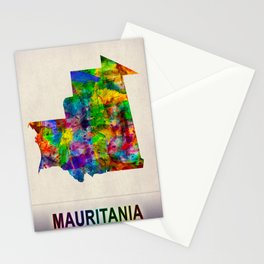 Mauritania Map in Watercolor Stationery Cards