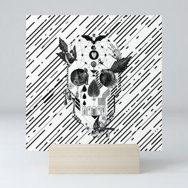 Abstract Skull B&W Mini Art Print