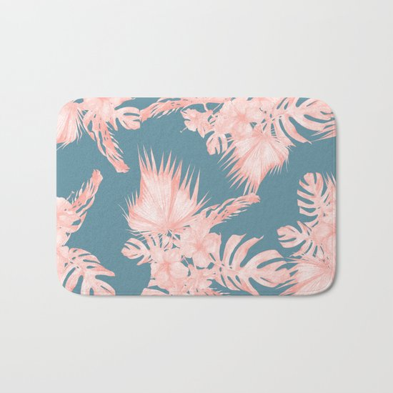 Tropical Palm Leaves Hibiscus Flowers Pink Blue Bath Mat