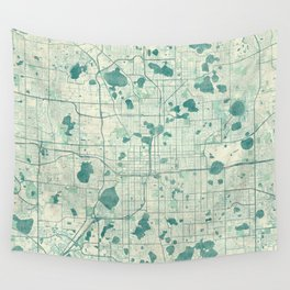 Orlando Map Blue Vintage Wall Tapestry